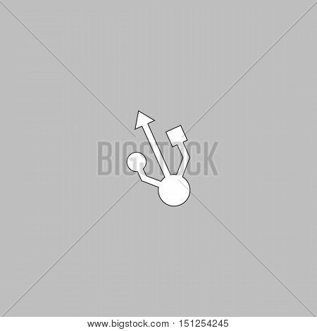 usb Simple line vector button. Thin line illustration icon. White outline symbol on grey background