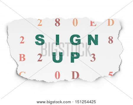 Web development concept: Painted green text Sign Up on Torn Paper background with  Hexadecimal Code