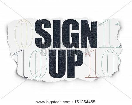 Web design concept: Painted black text Sign Up on Torn Paper background with  Binary Code