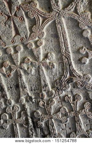 close stone khachkar crosses in the Armenian Church