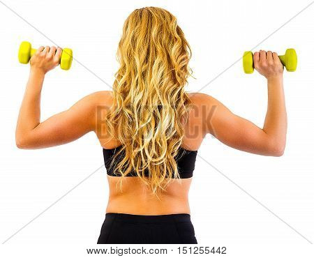 Fitness model posing with arms dumbell workout