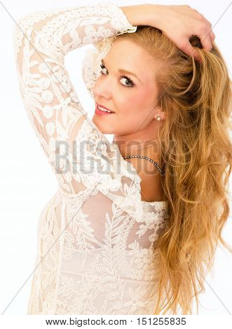 Beautiful blonde woman with great skin and hair