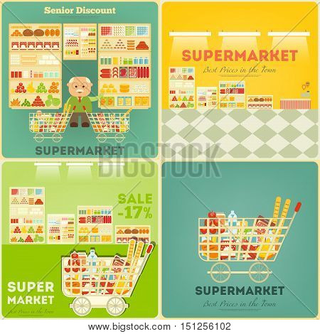 Supermarket Posters Set. Shop and Supermarket Shelves with Products. People Shopping at Grocery. Consumerism Concept. Sale. Senior Discount. Vector Illustration.