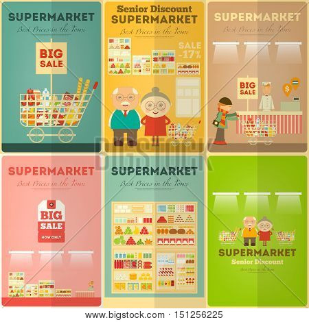 Supermarket Mini Posters Set. Shop and Supermarket Shelves with Products. People Shopping at Grocery. Consumerism Concept. Sale. Senior Discount. Vector Illustration.