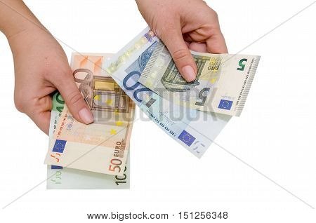 eupo banknotes in female hand isolated on white