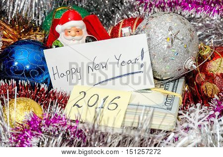 Happy New Year 2016 on christmas decoration