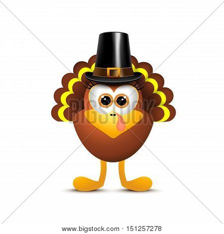 Thanksgiving turkey in pilgrim hat on white background. Vector illustration.