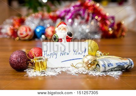 Happy New Year 2017 on christmas decoration