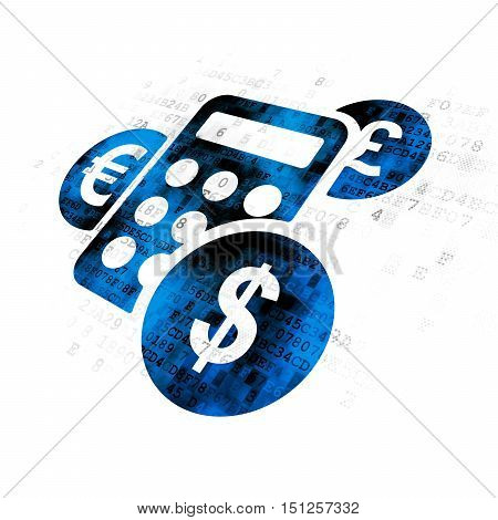 Advertising concept: Pixelated blue Calculator icon on Digital background