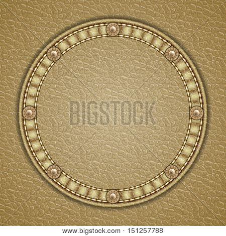 Round patch with rivets on leather background. Vector illustration
