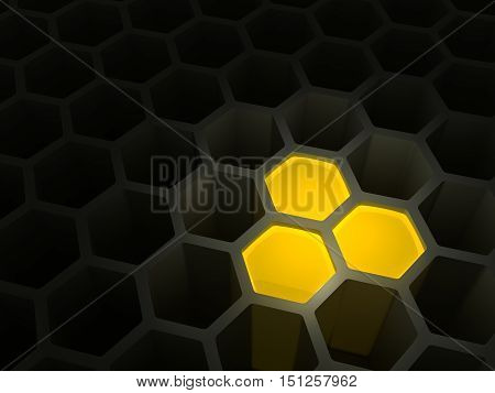 Concept of the beginning of accumulation of the capital, money, riches, something valuable as honeycombs with several cells filled with honey, 3D illustration.