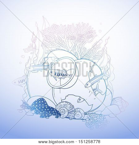 Graphic aquarium fish with broken jar drawn in line art style. Isolated under water scenery in blue colors.