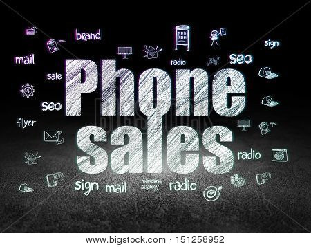 Advertising concept: Glowing text Phone Sales,  Hand Drawn Marketing Icons in grunge dark room with Dirty Floor, black background