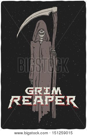 Grim reaper hand drawn vector grunge illustration