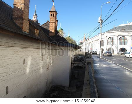 MOSCOW, RUSSIA - OCTOBER 5, 2016: The roof of Chambers of The Romanov Boyars on Varvarka street in the centre of Moscow