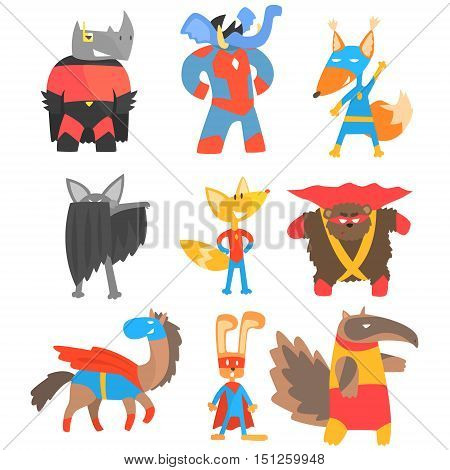 Animas Disguised As Superheroes Set Of Geometric Style Stickers. Comic Illustrations In Flat Stylized Design Isolated On White Background.