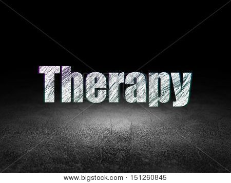 Healthcare concept: Glowing text Therapy in grunge dark room with Dirty Floor, black background