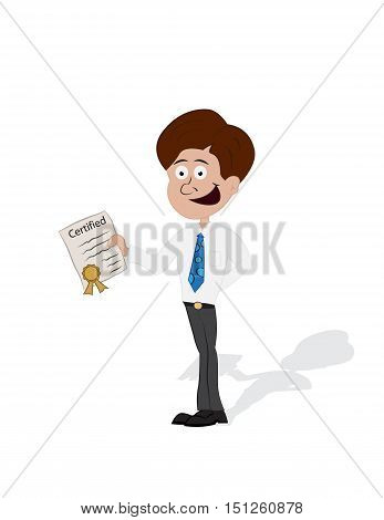 cartoon businessman standing and smile showing certified isolated