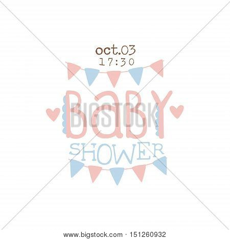 Paper Garlands Baby Shower Invitation Design Template. Calligraphic Vector Element For The Newborn Party Postcard.