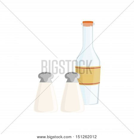 Salt, Pepper And Milk Baking Process And Kitchen Equipment Isolated Item. Simplified Realistic Flat Vector Drawing On White Background.