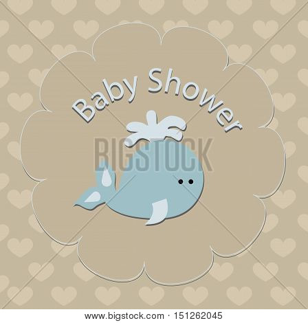 cute baby background with fish whale. Pattern for greeting or invitation. Baby vector illustration. Baby shower or arrival background