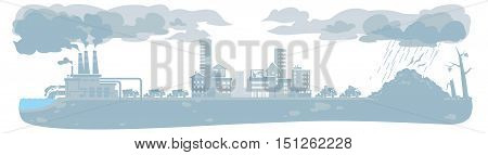 urban ecology concept or background with cityscape and smoke clouds