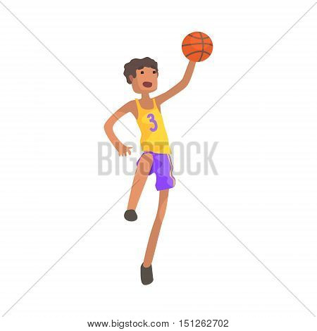 Basketball Player Jumping Action Sticker. Childish Cartoon Character In Cute Design Isolated On White Background