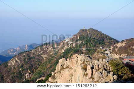 The summit of Taishan or mount Tai in Shandong province on a sunny morming.