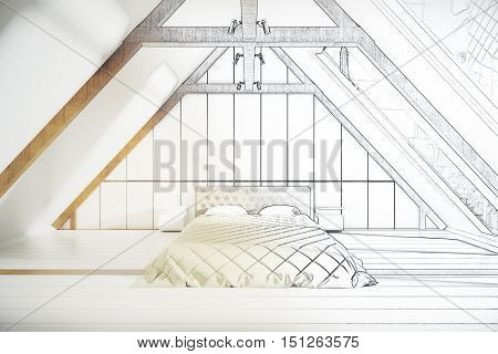 Unfinished loft bedroom project with furniture. 3D Rendering