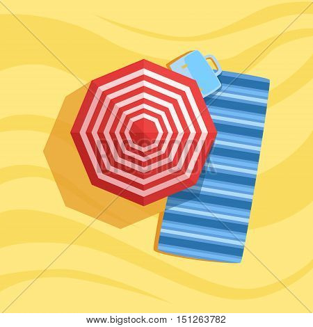 Blanket, Case And Umbrella Spot On The Beach Composition. Place On The Sand With Vacation Attributes From Above Bright Color Vector Illustration.