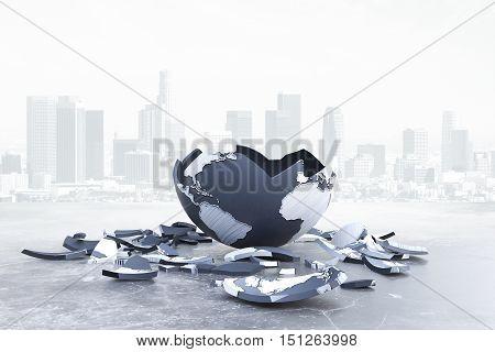Broken globe on city background. Global problems and risks. 3D Rendering