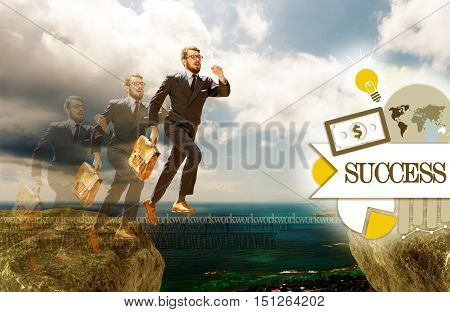 Image of young businessman jumping over gap. concept of career success