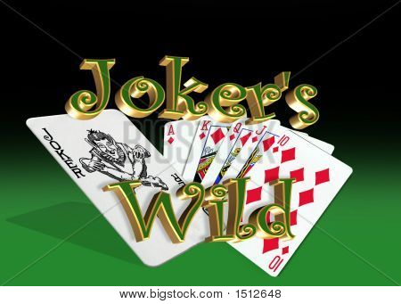 Jokers Wild Winning Poker Hand On Green