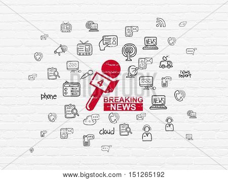 News concept: Painted red Breaking News And Microphone icon on White Brick wall background with  Hand Drawn News Icons