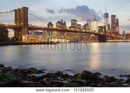 Brooklyn Bridge and the Lower Manhattan at blue hour in New York City
