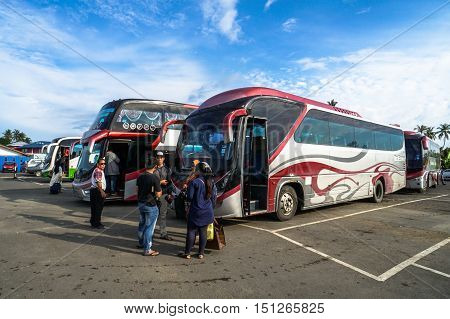 Menumbok,Sabah-Aug 19,2016:Menumbok bus terminal located at Menumbok,Sabah.The reason travellers come to Menumbok is to take the ferry to Labuan Island & enjoying duty free shopping at the many stores