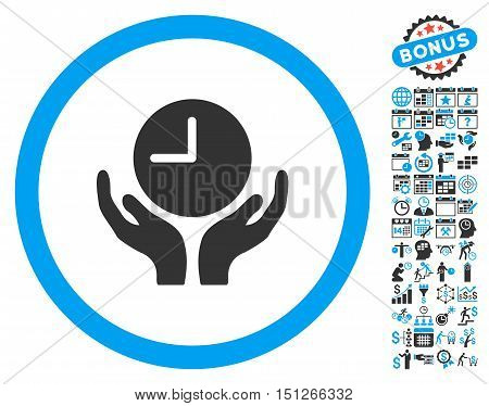 Clock Care Hands icon with bonus calendar and time management pictures. Glyph illustration style is flat iconic bicolor symbols blue and gray colors white background.