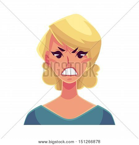 Pretty blond woman, angry facial expression, cartoon vector illustrations isolated on white background. Beautiful woman frowns, feeling distresses, frustrated, sullen, upset. Angry face expression