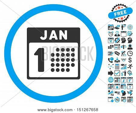January First icon with bonus calendar and time management pictogram. Glyph illustration style is flat iconic bicolor symbols blue and gray colors white background.