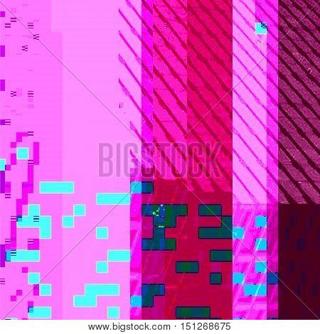 Vector Colorful Glitch Art Background .