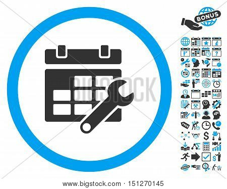 Timetable Options Wrench pictograph with bonus calendar and time management icon set. Glyph illustration style is flat iconic bicolor symbols blue and gray colors white background.