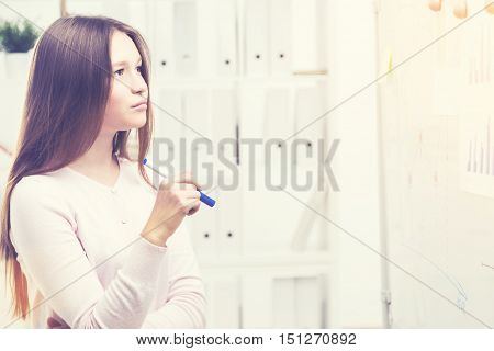 Woman Looking At An Office Whiteboard