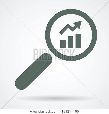 growing up trend in magnifier glass as looking for positive result financial concept vector icon design