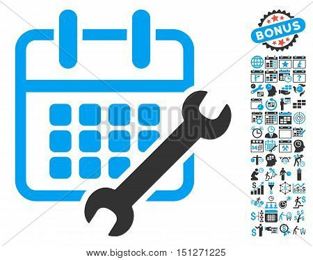 Calendar Configure pictograph with bonus calendar and time management pictogram. Glyph illustration style is flat iconic bicolor symbols blue and gray colors white background.