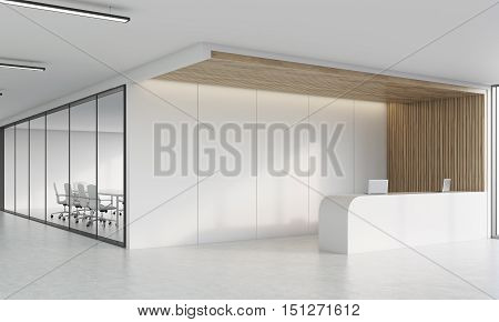Side View Of Reception Desk And Meeting Room In Corridor