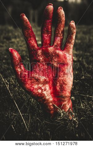 Frightening picture of woman's blood stained hand pushing up cemetery dirt at graveyard. Fright night terror