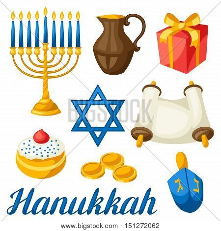 Set of Jewish Hanukkah celebration objects and icons.