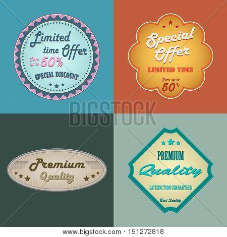 Discount retro design vintage style element template vector eps 10