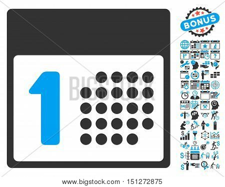 First Day icon with bonus calendar and time management icon set. Glyph illustration style is flat iconic bicolor symbols blue and gray colors white background.