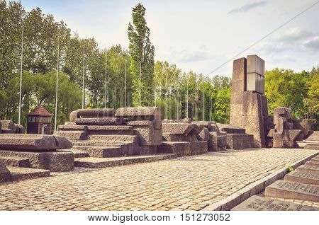 OSWIECIM POLAND - MAY 12 2016: Concentration camp Auschwitz Birkenau II in Brzezinka Poland.